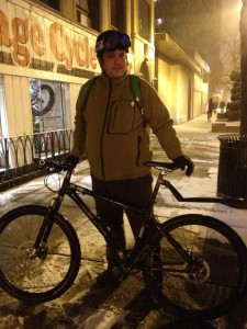 Nic before his winter commuter home on his winter bike