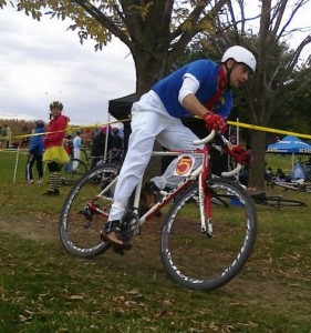 Llama racing cyclocross as Speed Racer at Campton in 2011