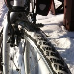 front fender studded tires help during winter bike rides