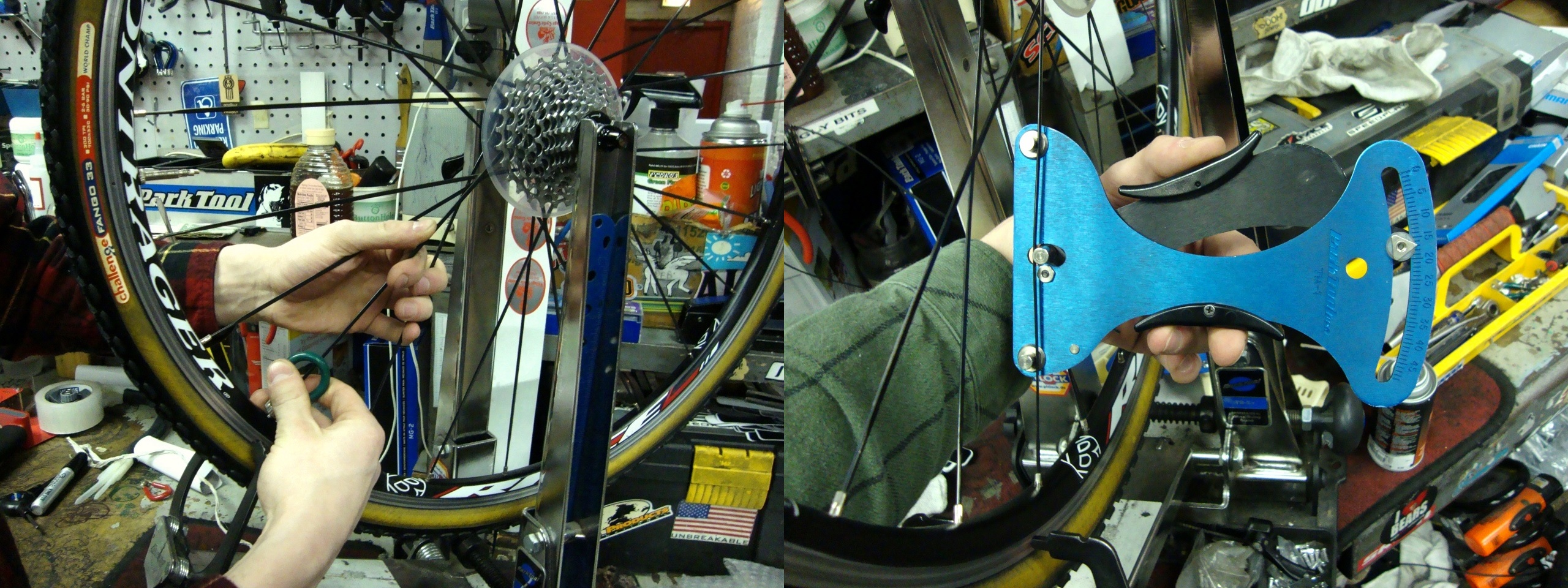 part of our bike tune-ups include checking the wheel spoke tension