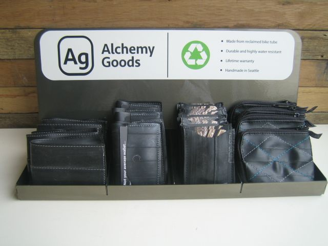 Alchemy Goods helps us be eco-friendly by upcycling inner tubes