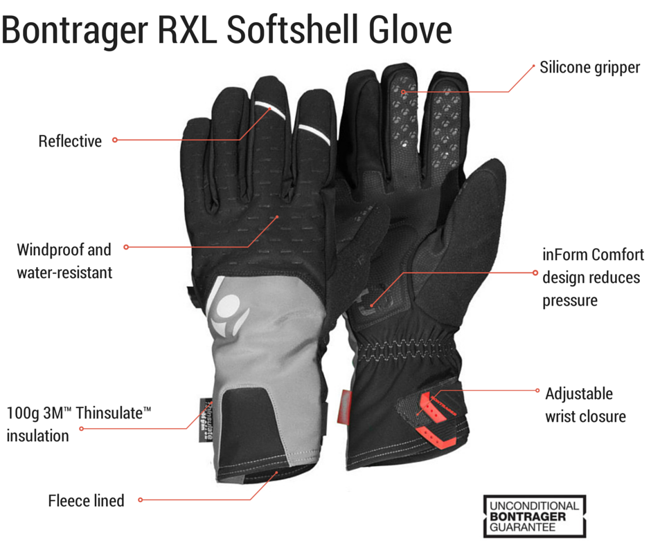 Cold weather cycling bontrager rxl softshell glove lined with Thinsulate perfect for winter riding