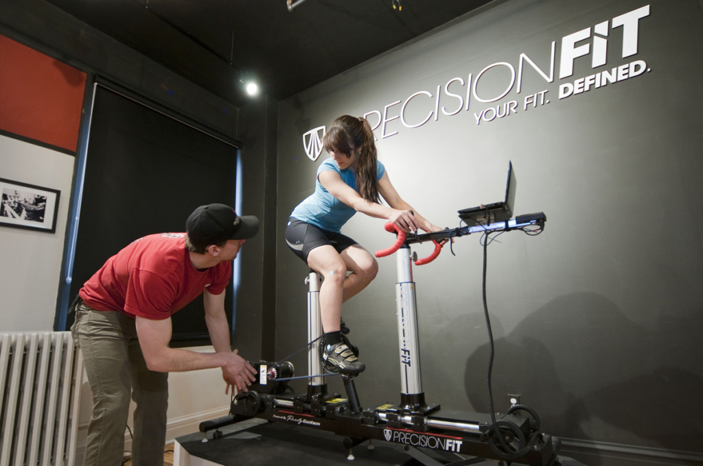 Tim Clinard, Trek Precision fitter, uses the fit bike and makes final adjustments to customer's fit.