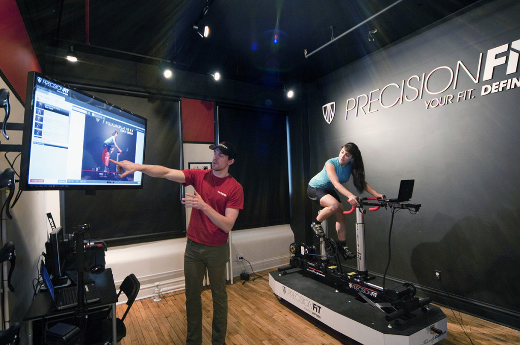 One on one fitting for triathlon bike in trek precision fit studio at Village Cycle Center